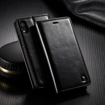 iPhone XR Wallet Stand Case Black