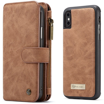 iPhone XS MAX Leather Waller Case Cover 14 Cards Holder Brown