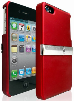 iPhone 4S 4 Scratch Proof Hard Case Red With Stand