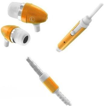 Orange Metal Earphones for iPhone 5S 4S Skype 3.5 Mic