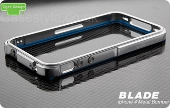 iPhone 4S 4 Blade Case Metal Bumper Silver Blue