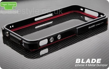 iPhone 4 Blade Case Metal Bumper Black Red