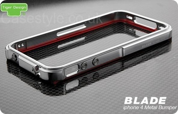 iPhone 4S Blade Case Metal Bumper Silver Red