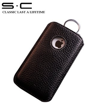 iPhone 4S 4 Genuine Cow Leather Pouch Black