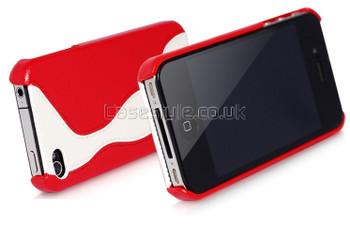 Hoco iPhone 4S 4 Back Real Leather Case Red White