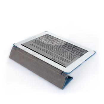 iPad 4+3+2 Premium Leatherette Smart Cover Back Blue
