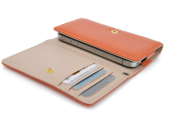 iPhone 4S 4 3GS iPod Touch Soft Leather Wallet Orange