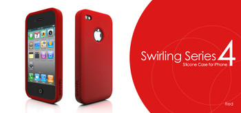 iPhone 4S Swirling Style Silicone Skin Red