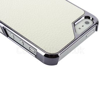 iPhone 5 5S Case with White Leather Back