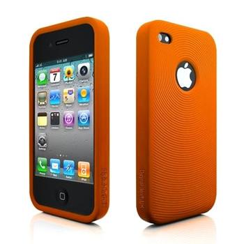 iPhone 4S Swirl Circles Silicone Skin Orange