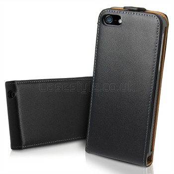 iPhone 5 5S Ultra Slim Genuine Leather Flip Case Black