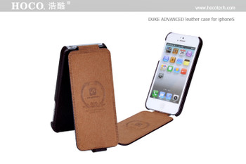 Hoco iPhone 5 5S Duke Genuine Leather Flip Case Black