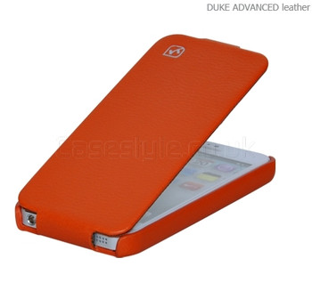 Hoco iPhone 5 5S Duke Genuine Leather Flip Case Orange
