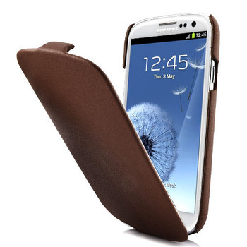 Samsung S3 Leather Flip Case Brown