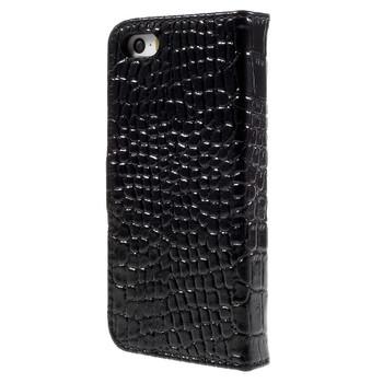 iPhone 5 5S Leather Crocodile Case Black