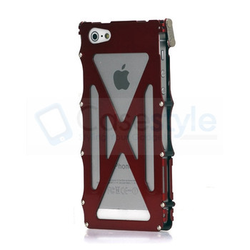iPhone 5 5S Steel Iron iNox Flip Case Red
