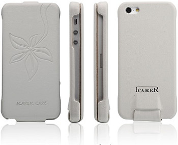 iCarer iPhone 5 5S Vogue Flower Leather Case White
