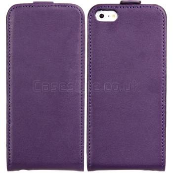iPhone 5 5S Ultra Slim Genuine Leather Flip Case Purple
