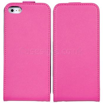 iPhone 5 5S Ultra Slim Genuine Leather Flip Case Pink
