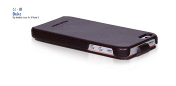 Hoco Duke iPhone 5 5S Real Leather Flip Case Brown