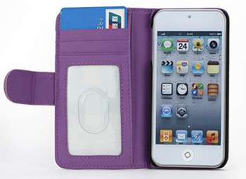 iPod Touch 6/5 Leather Style Wallet Case Purple