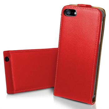 iPhone 5 5S Ultra Slim Genuine Leather Flip Case Red