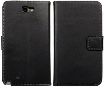 Samsung Note 2 Leather Wallet Case Card Holder Black