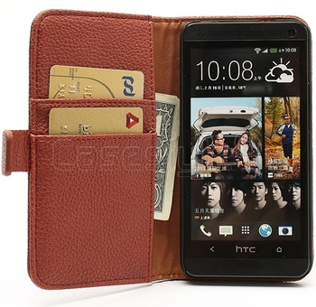 HTC One M7 Leather Wallet Brown