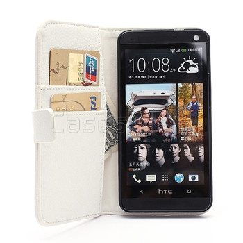 HTC One M7 Leather Wallet White