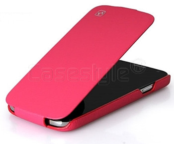 S4 Real Leather Flip Case Pink