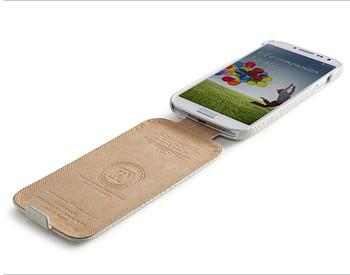 iCarer Samsung Galaxy S4 Crocodile Shiny Genuine Leather Case White