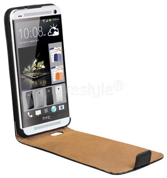HTC One M7 Genuine Leather Flip Case Black