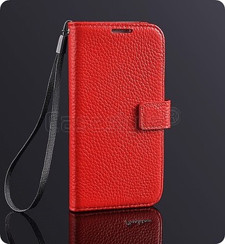 Samsung Galaxy S4 Cowhide Real Leather Wallet Case Red