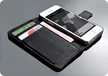 iPhone 5 5S Cowhide Leather Wallet Flip Case Black