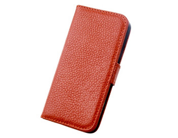 iPhone 5 5S Cowhide Leather Wallet Flip Case Brown