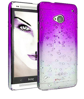 HTC One M7 Gradient Raindrop Case Purple Clear