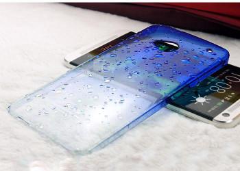 HTC One M7 Gradient Raindrop Case Blue Clear