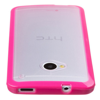 HTC One M7 Bumper Pink with Clear Back