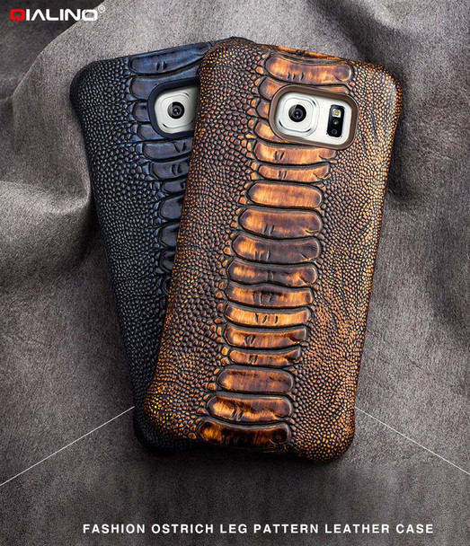 Samsung Galaxy S7 EDGE Ostrich Luxury Real Leather Case Brown