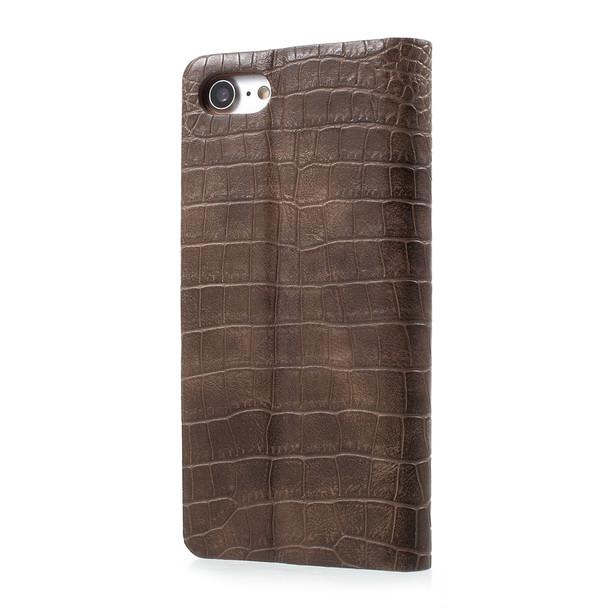 iPhone 7 Leather Case Crocodile Brown