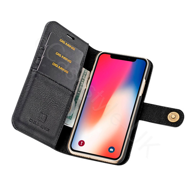 iPhone X Leather Wallet+Removable Case Cover