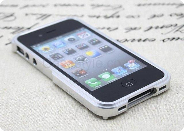 iPhone 4S 4 Blade Case Metal Bumper Silver