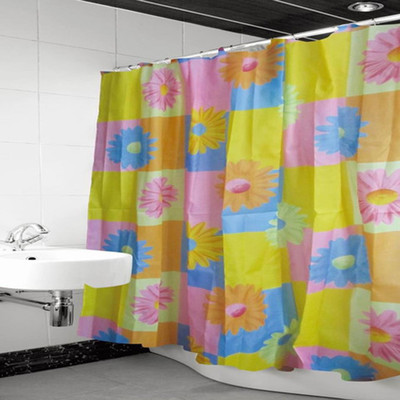 "Pztex 72"" x 72"" Shower Deluxe Curtain w/ Matching Hooks - Bright Sunflowers"