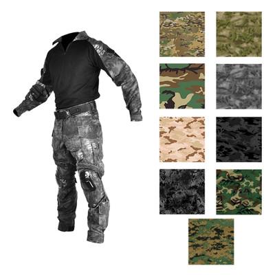 Mens BDU Combat Tactical Uniform Shirt and Pant Set with Kneepads