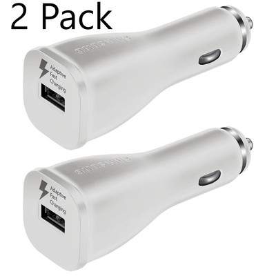 2 Pack Samsung OEM Original USB Quick Charge 2.0 Fast Charging Car Cigarette Adapter - White