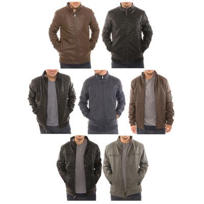 Alta Men's Motorcycle Bomber Fleece Lined Faux Leather Jacket