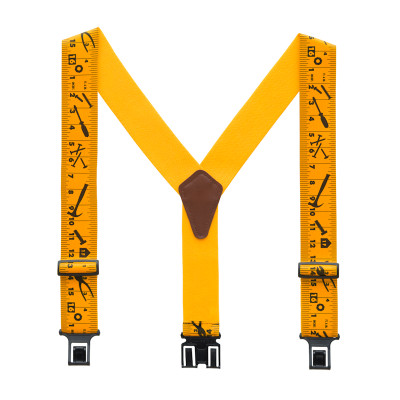 "Perry 2"" Regular Clip-On Hook End Belt Suspender w/ Yellow Tape Measure Print"