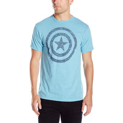Marvel Men's Captain America Shield Graphic T-Shirt - Light Blue Tri Blend