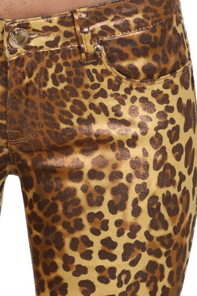 Bonage Fashion Designer Gold Snakeskin Print Women's Skinny Pants