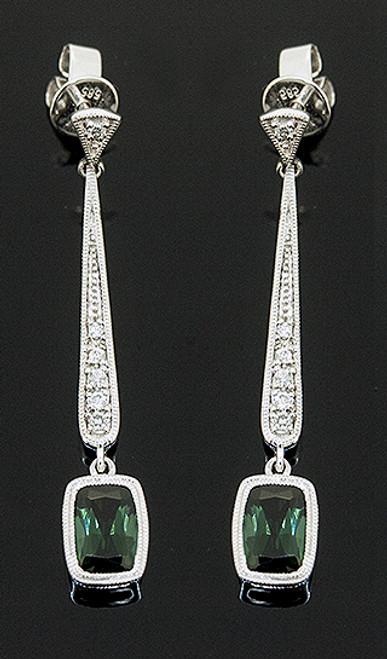23510144 GREEN TOURMALINE AND DIAMOND DANGLE EARRINGS 14K
